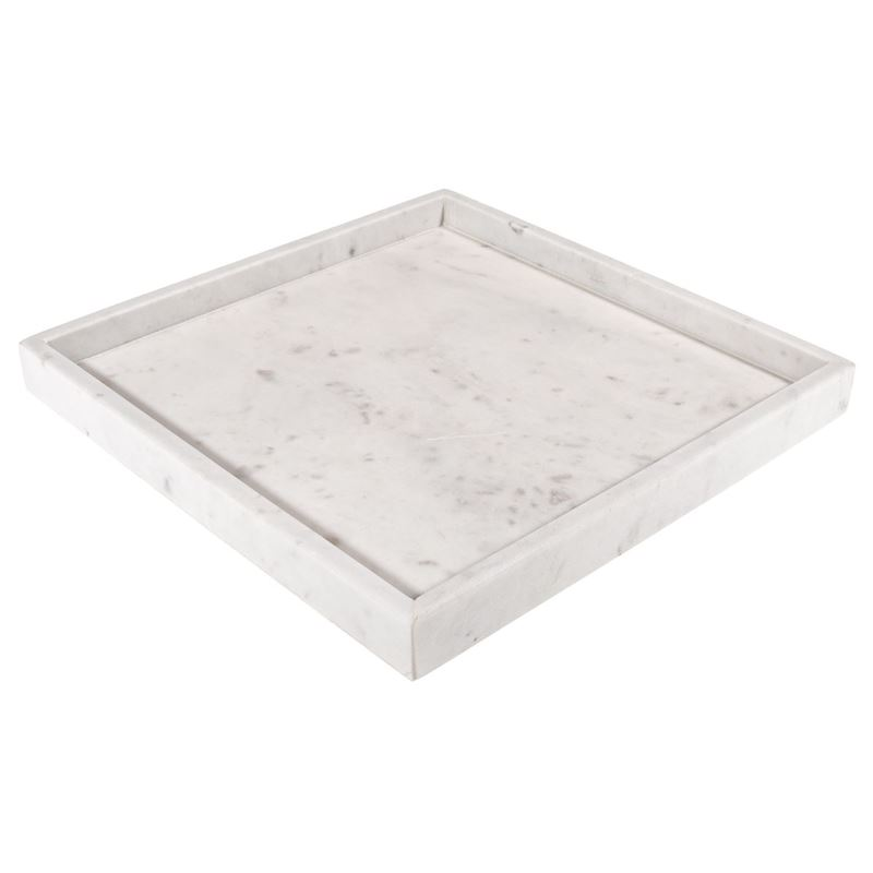 Zuhause – Karmela White Marble Square Dish Large 30x2cm