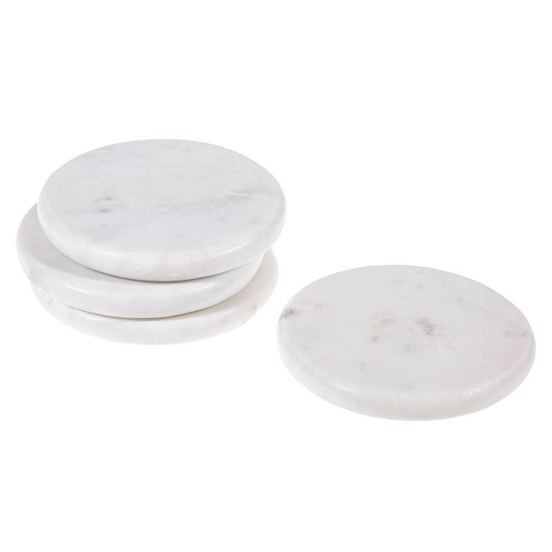 Zuhause – Karmela White Marble 10cm Round Coasters Set of 4