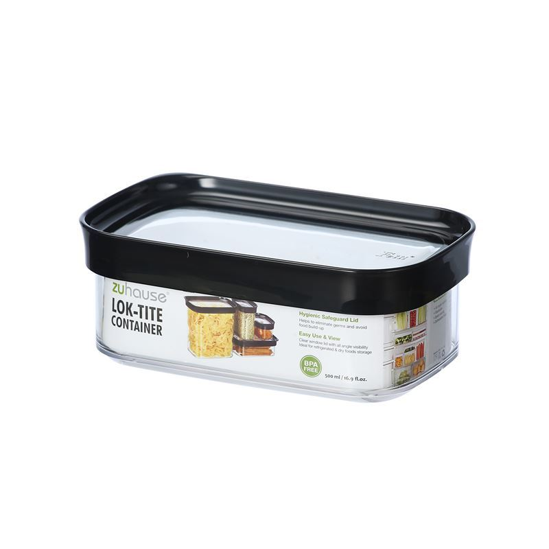 Zuhause – Lok-Tite 500ml Rectangular Storage Canister 16×10.6.5cm Black Lid