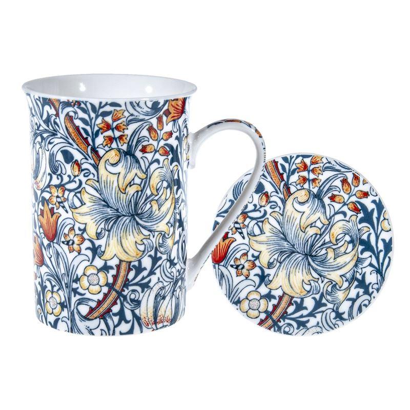 Heritage – Fine Bone China Mug and Coaster Set Blue Lily