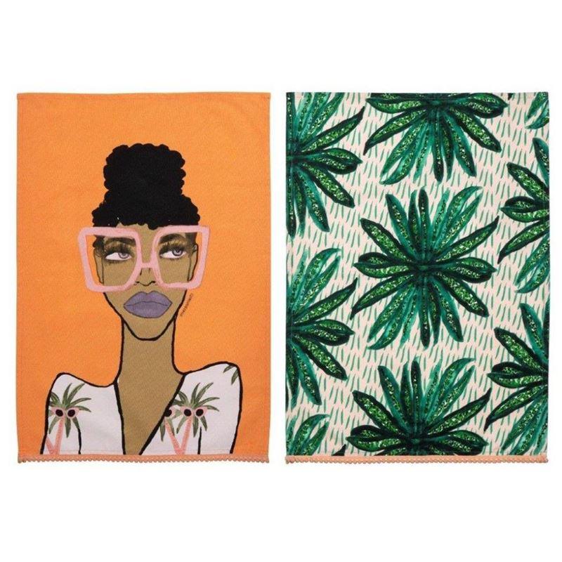 Bouffants & Broken Hearts – Jungle Queen Tea Towel Set of 2 70x50cm