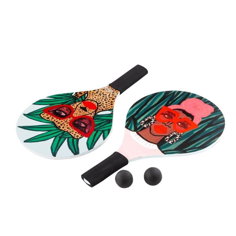 Bouffants & Broken Hearts – Jungle Rumble Beach Paddle with Two Balls in Carry Bag