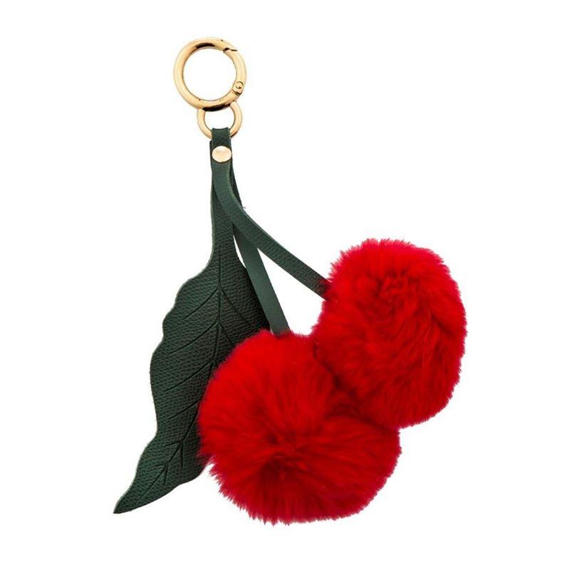 Bouffants & Broken Hearts – Cherry Pom Pom Key Ring 12×18.5cm
