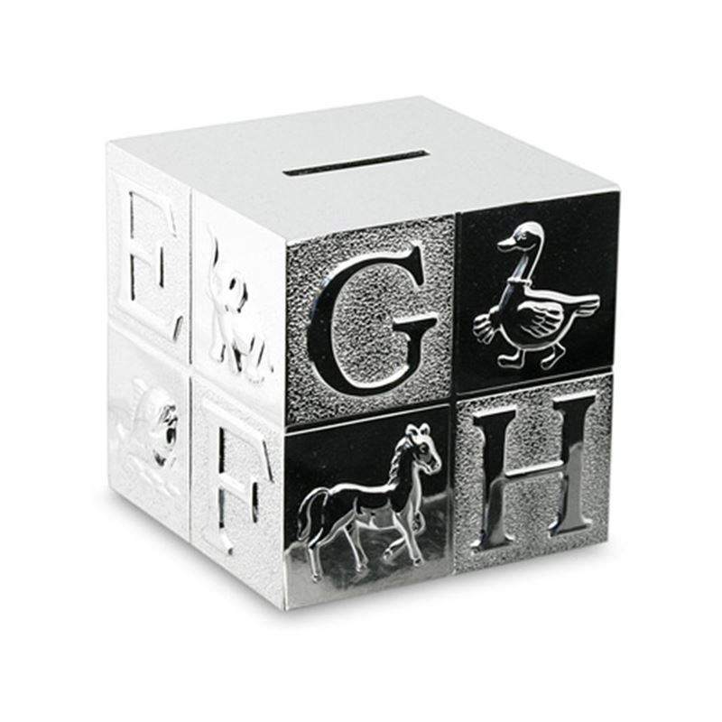 Whitehill – Silver Plated Cube Money Box