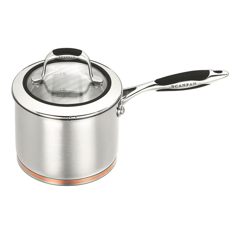 Scanpan Coppernox – Copper Based Saucepan with Glass Lid 16cm 1.8Ltr