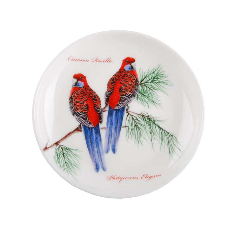 Dan Samuels Australia -Crimson Rosella (Red)Fine Bone China Plate/Coaster 10cm