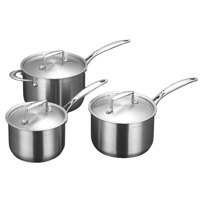 Scanpan – Satin Premium stainless Steel 3pc Saucepan Set
