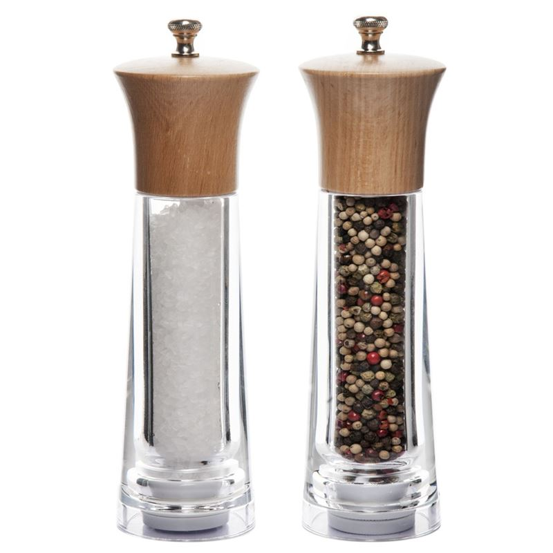 Benzer – Baron Premium Grind Beechwood and Acrylic Salt & Pepper Mill Set 20cm