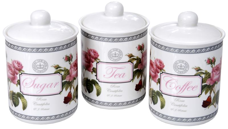 Heritage – Royal Botanic Gardens Fine China Redoute Roses Classic Tea Coffee and Sugar Canister Set