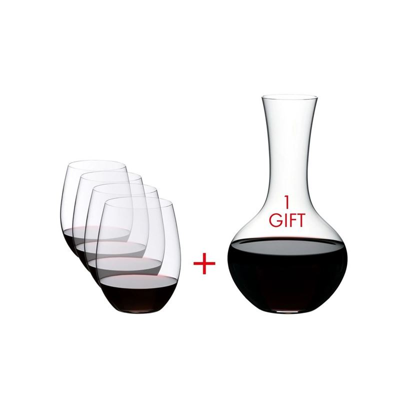 Riedel – O + GIFT Cabernet Merlot Set of 4 and Syrah GIFT Decanter (Made in Germany)