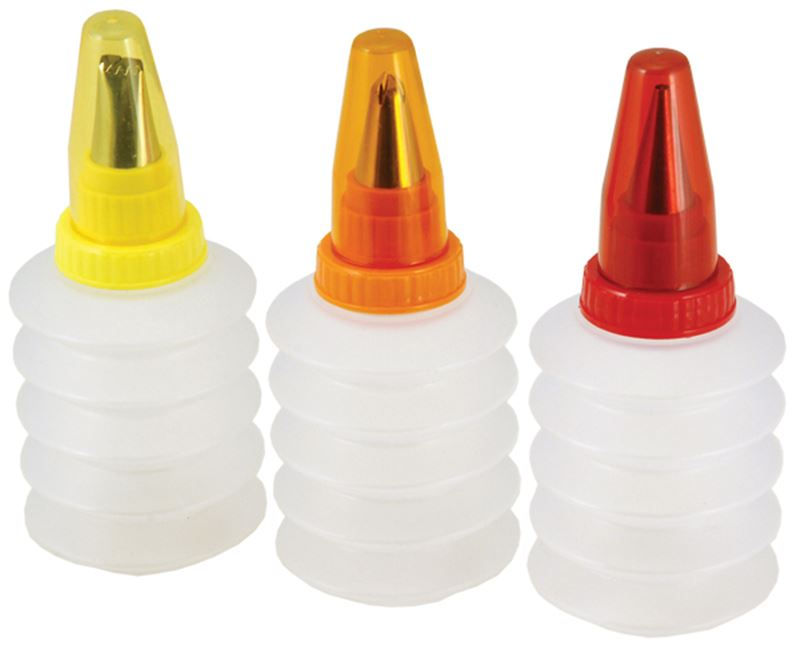 Tala – Retro Squeeze Icing Bottles with Nozzles 13cm set of 3