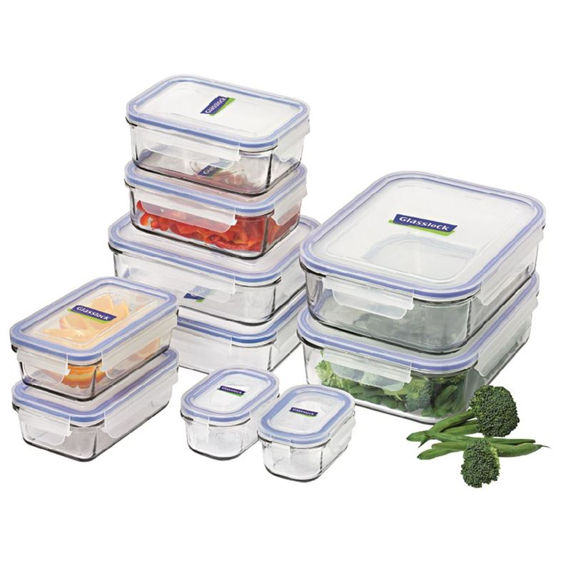 Glasslock – Tempered Glass 10 Piece Food Container Set