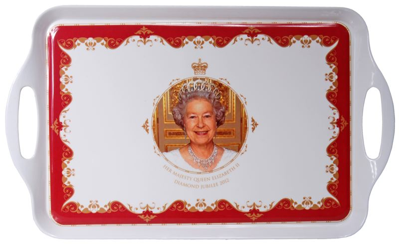 Royal Crest – Her Majesty Queen Elizabeth II Diamond Jubilee Serving Handled Tray 38×25.5cm