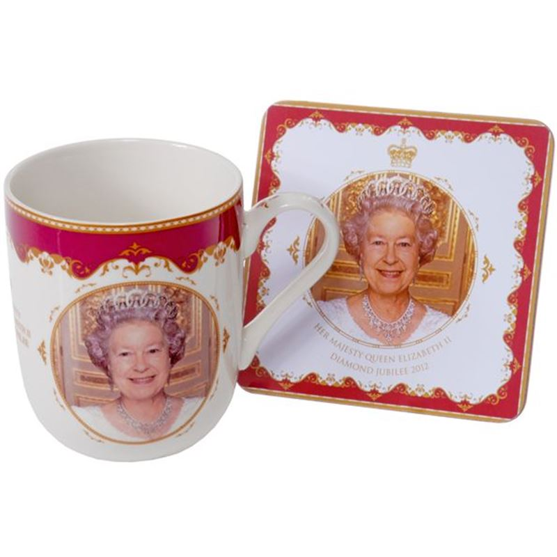 Royal Crest – Her Majesty Queen Elizabeth II Diamond Jubilee Heritage Fine China Mug and Coaster Set