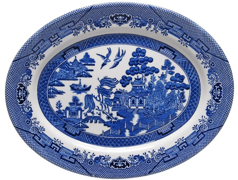 Churchill – Blue Willow Oval Dish 31cm (Made in England)