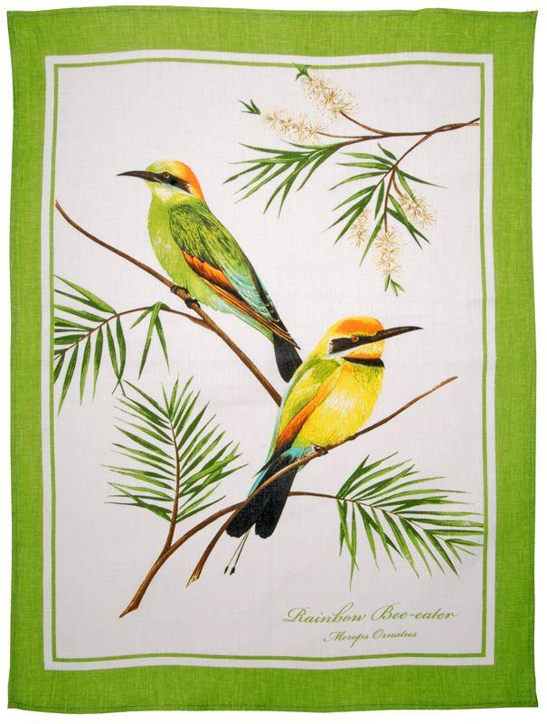 Dan Samuels – Australiana LINEN Tea Towel Rainbow Bee Eater – 50x70cm