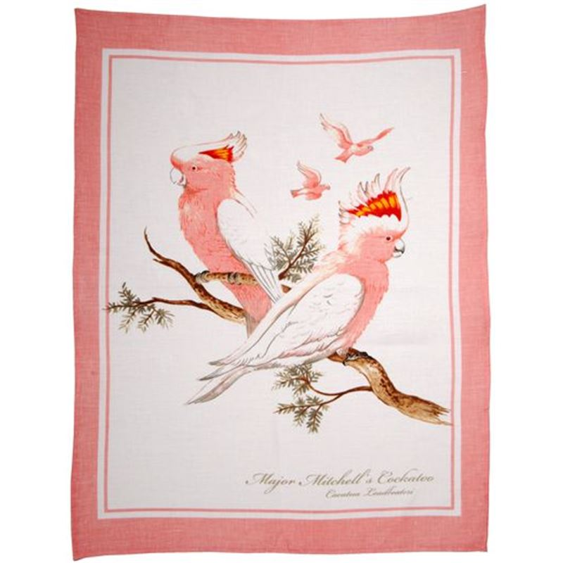 Dan Samuels – Australiana LINEN Tea Towel Major Mitchell's Cockatoo – 50x70cm