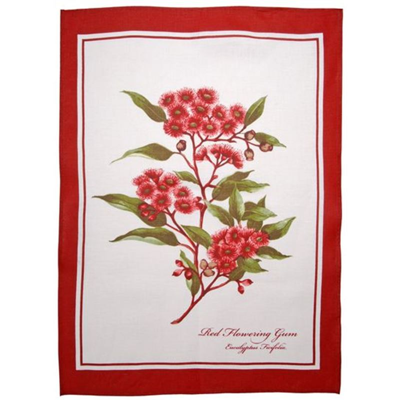 Dan Samuels – Australiana LINEN Tea Towel Red Flowering Gum – 50x70cm