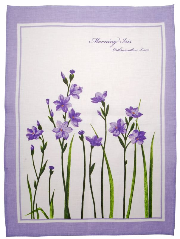 Dan Samuels – Australiana LINEN Tea Towel Morning Iris – 50x70cm
