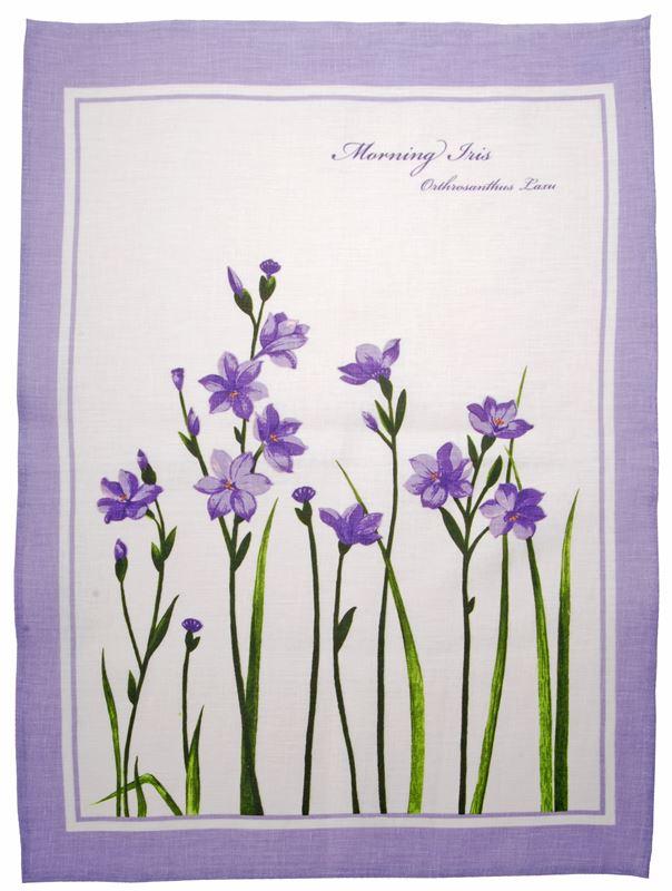 Dan Samuels – Australiana LINEN Tea Towel Morning Iris – 50x70cm