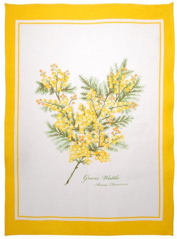 Dan Samuels – Australiana LINEN Tea Towel Green Wattle – 50x70cm