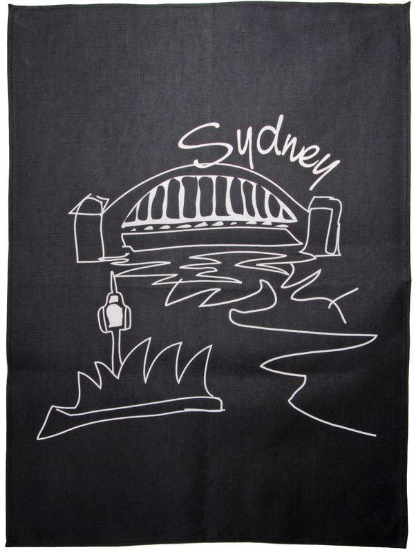 Benzer – Australiana Sydney LINEN Tea Towel Black – 50x70cm