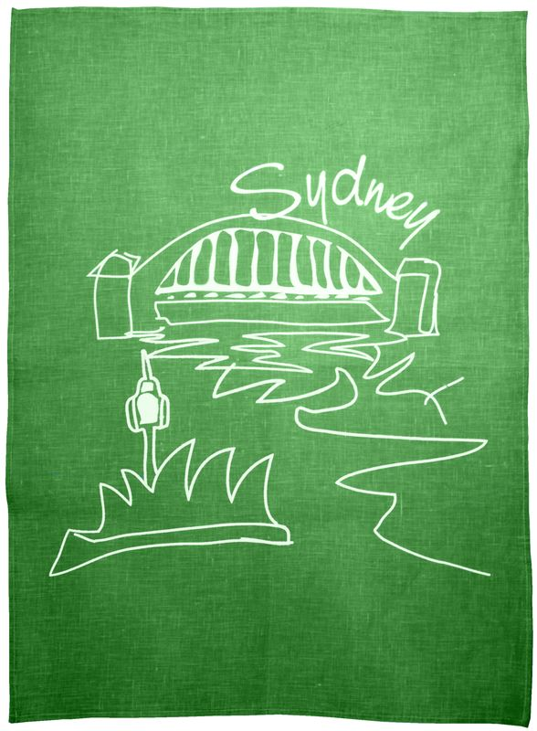 Benzer – Australiana Sydney LINEN Tea Towel Green – 50x70cm