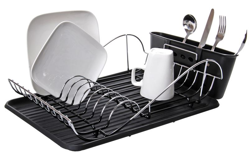 Zuhause – Loft Chrome & PVC Coated Dish Rack with Tray 41x32x13cm
