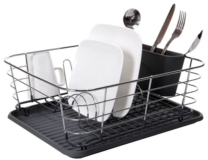 Zuhause – Domo Chrome & PVC Coated Dish rack with Tray and Cutlery Holder 44x36x13.5cm