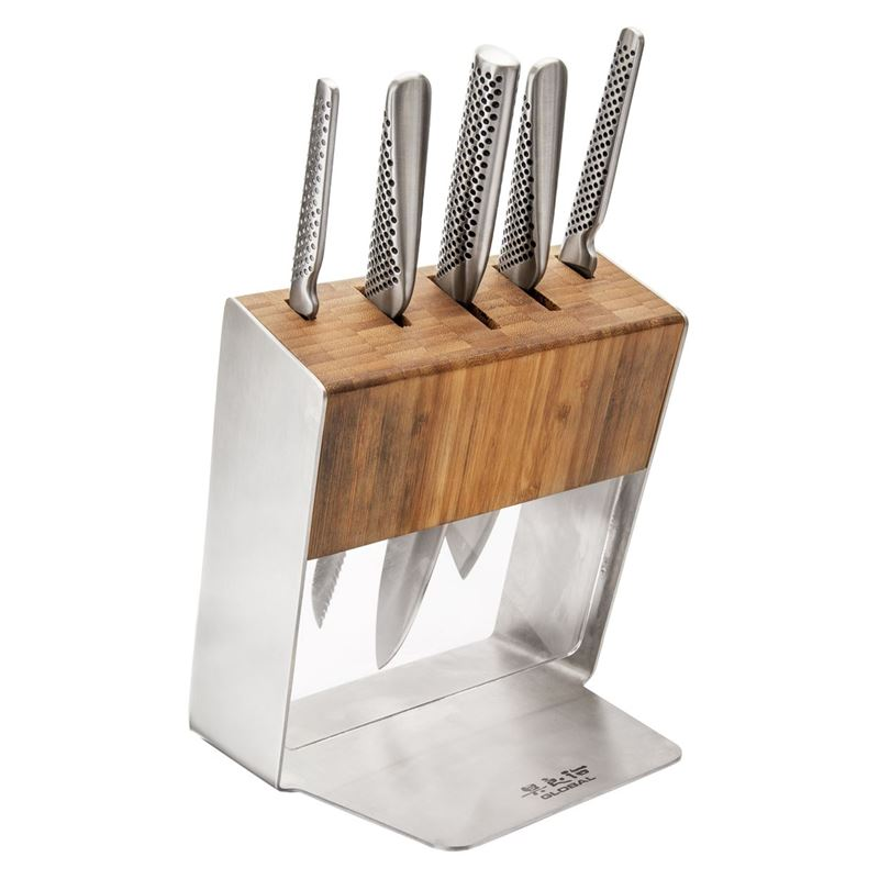 Global – Katana 6 piece Knife Block Set Stainless Steel(Made in Japan)