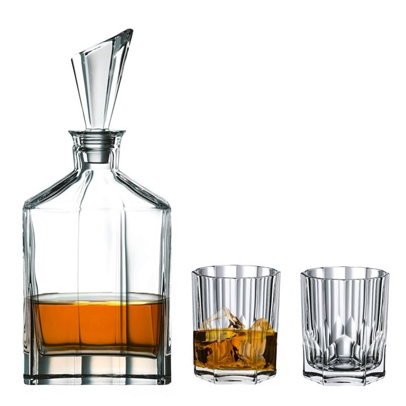 Nachtmann Crystal – Aspen 3pc Whisky Decanter & Double Old Fashioned set (Made in Europe)