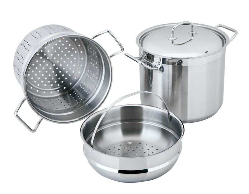 Benzer – Berlin Professional 18/10 Stainless 3pc Pasta/Stockpot Set Including Steamer & Pasta Insert