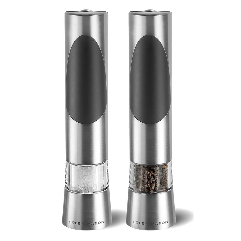 Cole & Mason – Richmond Stainless Steel and Black Electronic 21.5cm Salt and Pepper Mill Set