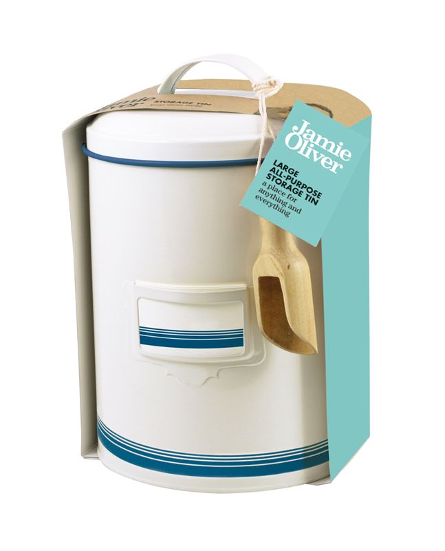 Jamie Oliver – Large Storage Tin with Wooden Scoop