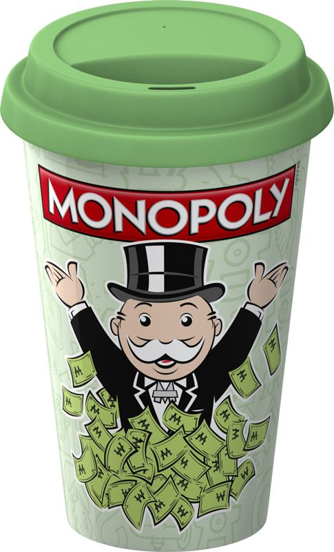 Monopoly – Double Wall Travel Mug with Silicone Lid Monopoly Money