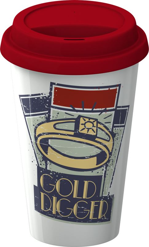 Monopoly – Double Wall Travel Mug with Silicone Lid Gold Digger