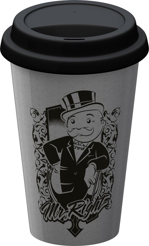 Monopoly – Double Wall Travel Mug with Silicone Lid Mr Right