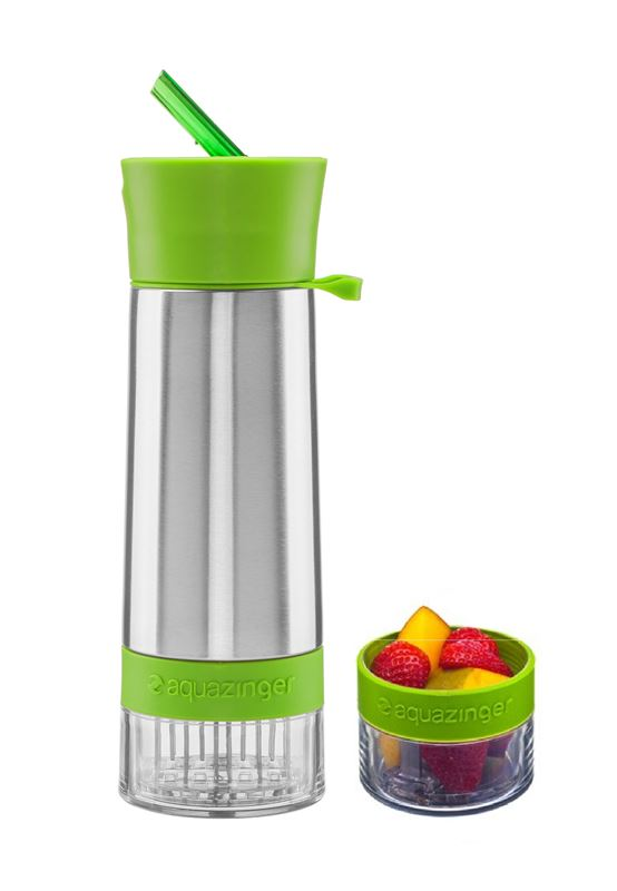Zing Anything – Aqua Zinger Naturally Flavoured Stainless Steel 590ml Water Bottle Green