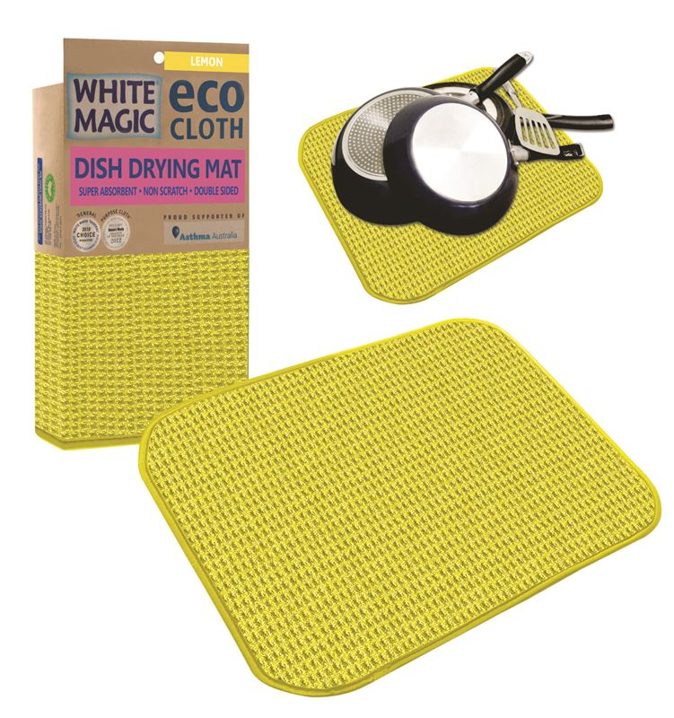 White Magic – Eco Cloth Dish Drying Mat Lemon 45x40cm (Discontinued July 20)
