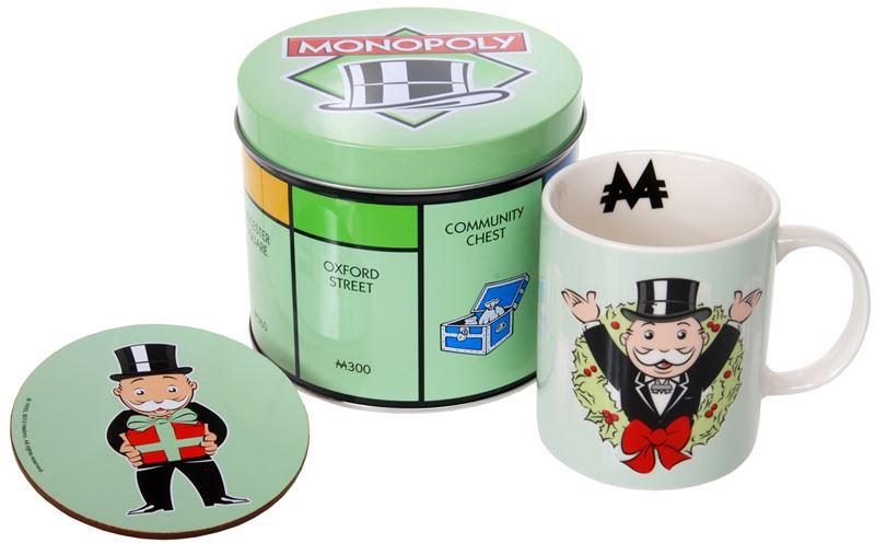 "Monopoly – Mug and Coaster in Tin Storage Gift Set 'Wreath"""