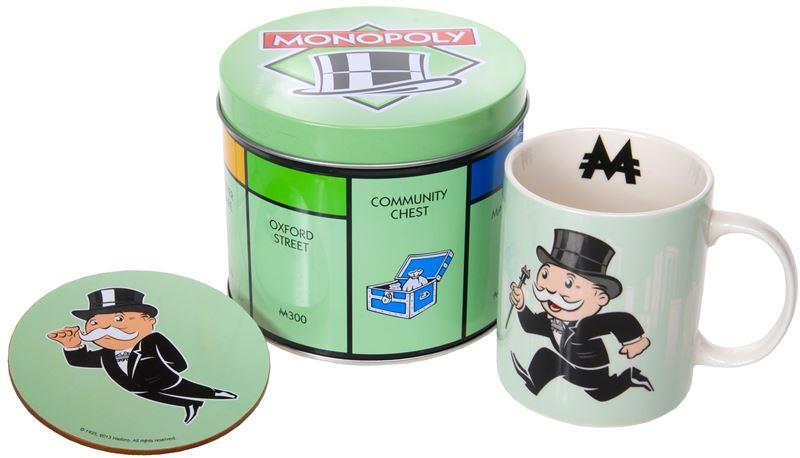 "Monopoly – Mug and Coaster in Tin Storage Gift Set ""Monoply Man"""