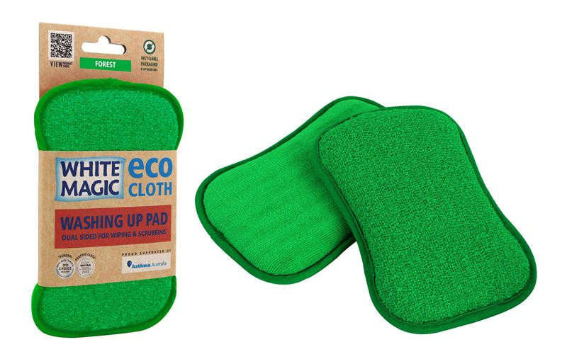 White Magic – Eco Cloth Microfibre Washing Up Pad Forest Green