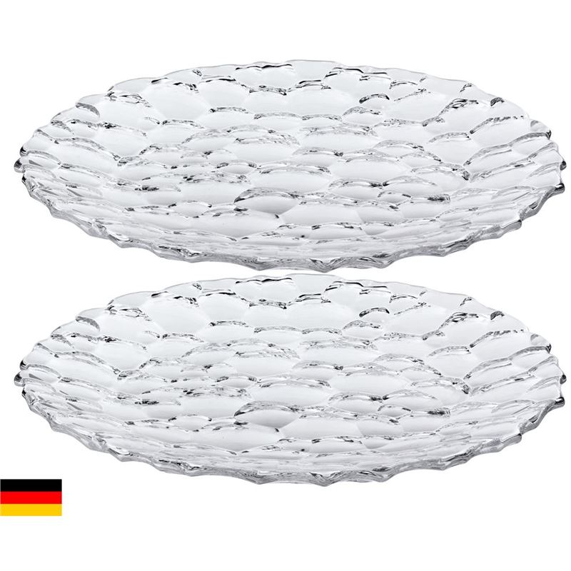 Nachtmann Crystal – Sphere Set of 2 Round Serving Plates 23cm (Made in Germany)