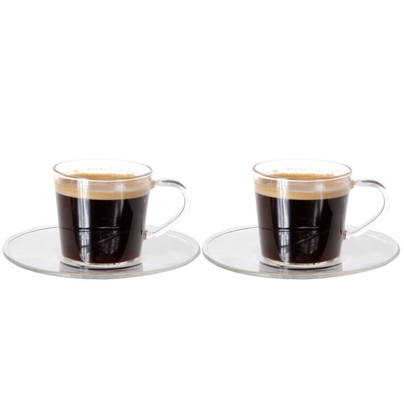 Zuhause – Nova Set of 2 Superior Fine Glass Espresso Cups and Saucers 80ml