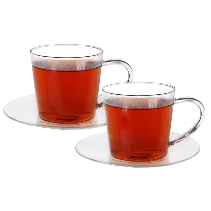 Zuhause – Nova Set of 2 Superior Fine Glass Tea/Coffee Cup and Saucer set 250ml