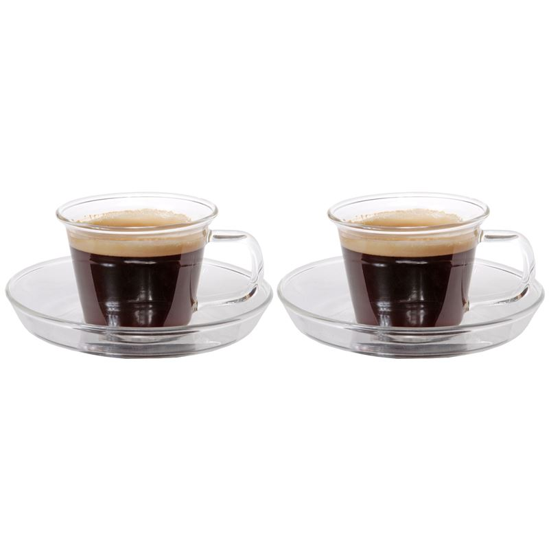 Zuhause – NY3 Set of 2 Superior Fine Glass Espresso Cups and Saucer 80ml