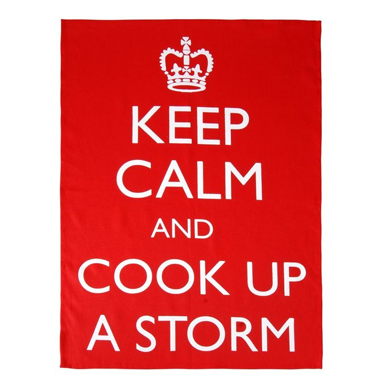 Dan Samuels – Keep Calm and Cook up a Storm 100% Linen Tea Towel 50x70cm Red