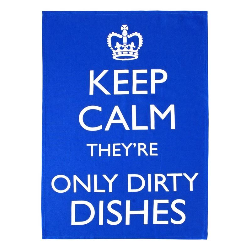 Dan Samuels – Keep Calm they're only Dirty Dishes 100% Linen Tea Towel 50x70cm Blue