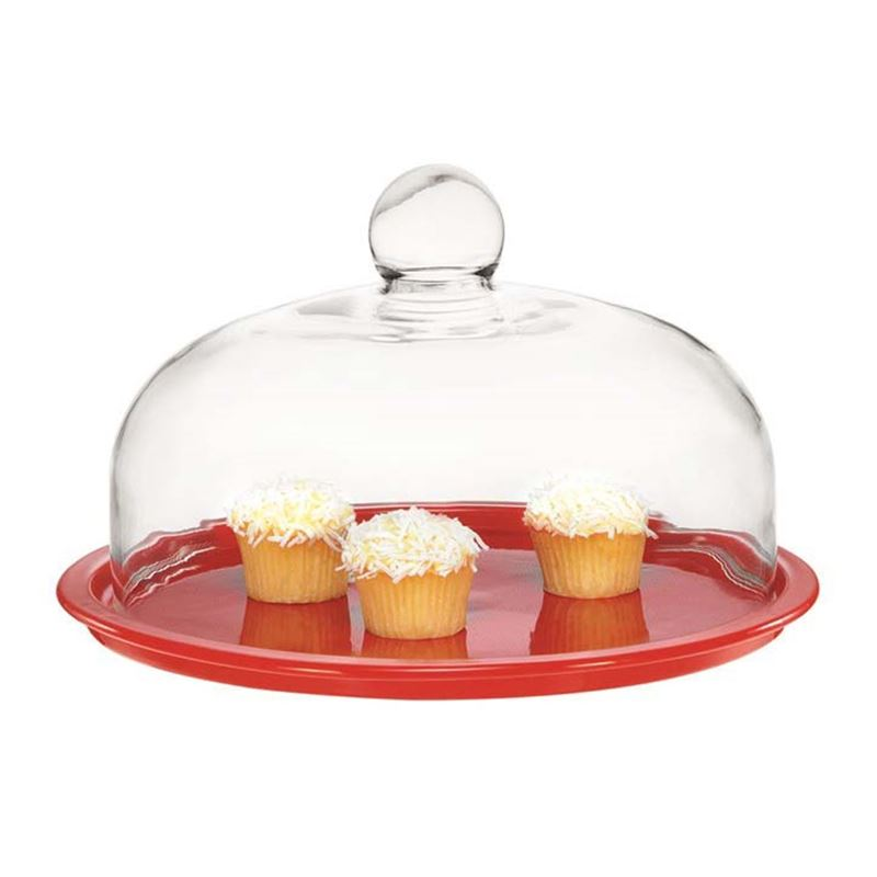Chasseur – La Cuisson 2 PIECE Cake Platter with Glass Domed Lid Red 29.5cm