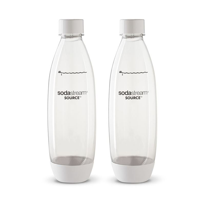 SodaStream – Twin Pack of BPA Free Drink Bottles 1Ltr Fuse White
